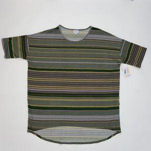 Lularoe Irma Shirt Top 2XL NWT Green Black Striped